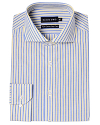 Double Two Stripe Classic Fit Classic Collar Formal Shirt Yellow