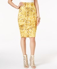 Thalia Sodi Printed Scuba Pencil Skirt Only At Macy's Yellow Combo