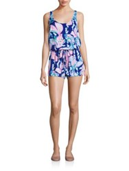 Lilly Pulitzer Graphic Short Jumpsuit Blue