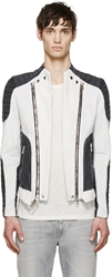 Balmain Grey And White Denim Biker Jacket