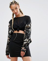 Pull And Bear Pullandbear Floral Print Bomber Jacket Black