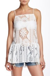 Poof Crochet Lace Strappy Tunic White