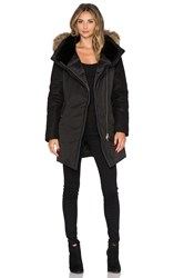Mackage Arita Jacket With Asiatic Raccoon Fur And Sheepskin Black