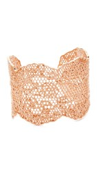 Aurelie Bidermann Laser Cut Vintage Lace Cuff Rose Gold