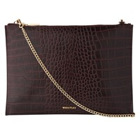 Whistles Shiny Croc Leather Chain Pouch Burgundy