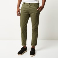 River Island Mens Green Stretch Cropped Slim Chino Trousers