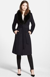 Women's Ellen Tracy Genuine Fox Collar Wool Blend Long Wrap Coat Navy