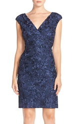 Marina Soutache Embroidered Lace Dress Navy