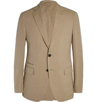 Berluti Tan Slim Fit Linen And Silk Blend Blazer Brown