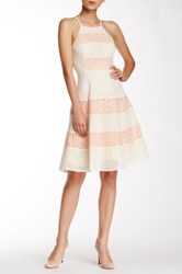 Champagne And Strawberry Eyelet Fit Flare Dress Pink