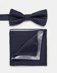 Minimum Bow Tie And Pocket Square Blue