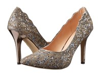 Paradox London Pink Alexis Champagne Glitter Lace Women's Shoes Gold