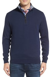 Bugatchi Men's Quarter Zip Knit Pullover Sweater Navy