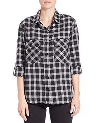 Sanctuary Plaid Boyfriend Shirt Black White