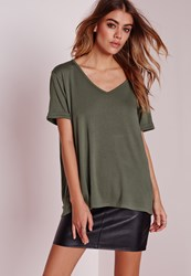 Missguided Boyfriend V Neck T Shirt Khaki Beige