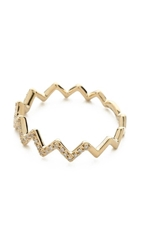 Ef Collection Pave Diamond Zigzag Stack Ring Yellow Gold Clear