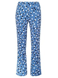 Altuzarra Ross Polka Dot Stretch Cady Flared Trousers Mid Blue