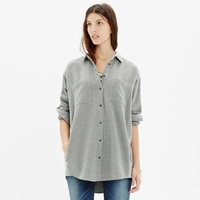 Madewell Flannel Oversized Button Down Shirt In Heather Cloud
