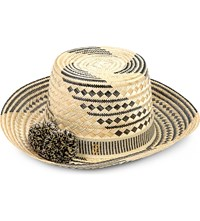 Yosuzi Siruma Straw Hat B W With Black White