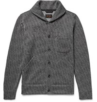 Beams Plus Beam Plu Hawl Collar Herringbone Woven Cardigan Charcoal