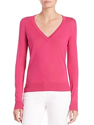 Michael Kors Silk V Neck Sweater Geranium