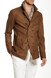 John Varvatos Double Breasted Button Front Cut Away Suede Jacket