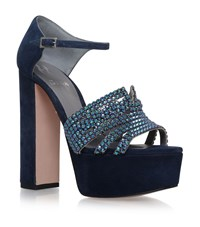 Gina Juniper Jewelled Platform Heels Female Navy