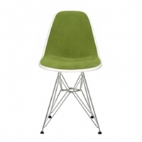 Eames Dsr Chair White With Avocado Hopsack And Chrome Base