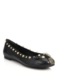 Marc By Marc Jacobs Studded Leather Mouse Ballet Flats Black