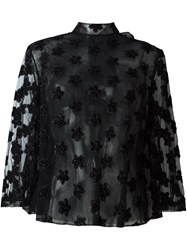 Simone Rocha Semi Sheer Floral Applique Blouse Black