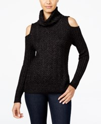 American Rag Juniors' Cold Shoulder Turtleneck Sweater Only At Macy's Black