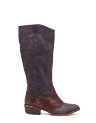Matisse Tall Western Leather Embossed Boots Dark Brown