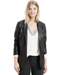 Violeta By Mango Plus Size Leather Blazer Black