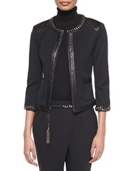 St. John Curb Chain And Leather Trimmed Jacket
