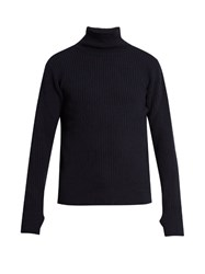 Oliver Spencer Ribbed Roll Neck Wool Sweater Navy