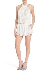 Lovers Friends Women's 'Your Girl' Embroidered Eyelet Halter Romper Ivory