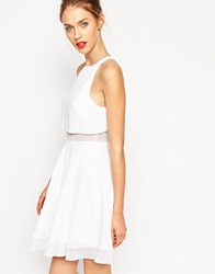 Asos Sheer And Solid Skater Dress Ivory