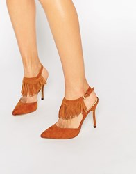 Blink Tassel Sling Heeled Shoes Tan