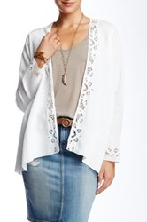 3J Workshop Lace Trimmed Linen Cardigan Beige