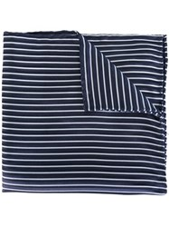 Armani Collezioni Striped Pocket Square Blue