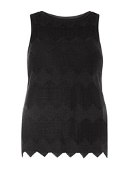 Dorothy Perkins Chevron Lace Shell Top Black