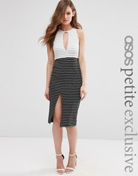 Asos Petite Colourblock Stripe Pencil Dress Mono Multi