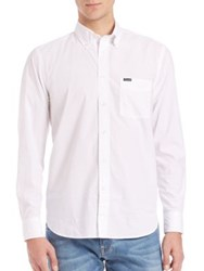 Faconnable Solid Linen Shirt White Blue