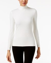 Alfani Long Sleeve Ruched Turtleneck Top Soft White