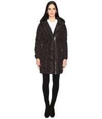 Zac Posen Leah Vertical Puffer Coat Black Iridescent Women's Coat