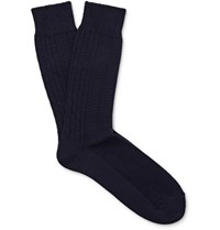 Mr. Gray Aran Knitted Cotton Blend Socks Midnight Blue