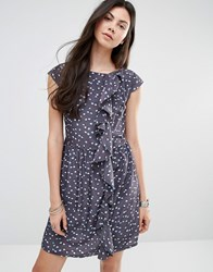 Jasmine Dress With Ruffle Side Dark Grey