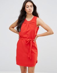 Lavand Tie Waist Sleeveless Dress In Red Red