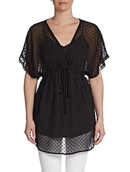 Daniel Rainn Swiss Dot V Neck Tunic Black