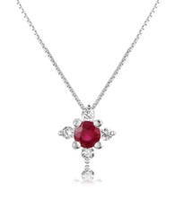 Incanto Royale Diamond And Ruby Flower 18K Gold Pendant Necklace Red